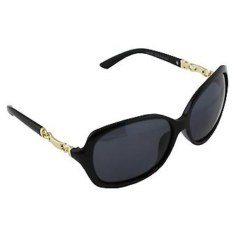 Sunglasses Women's Polaroid Oval - Gold/Black with free brillenkokerS356_4