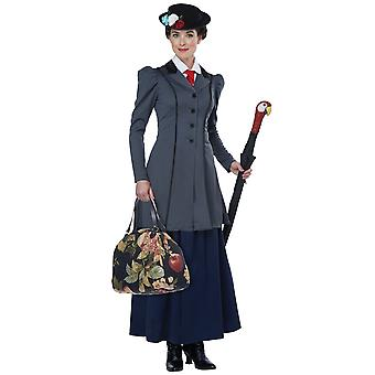 Anglais Nanny Mary Poppins Victorian Magic Maid Book Week Costume Femme