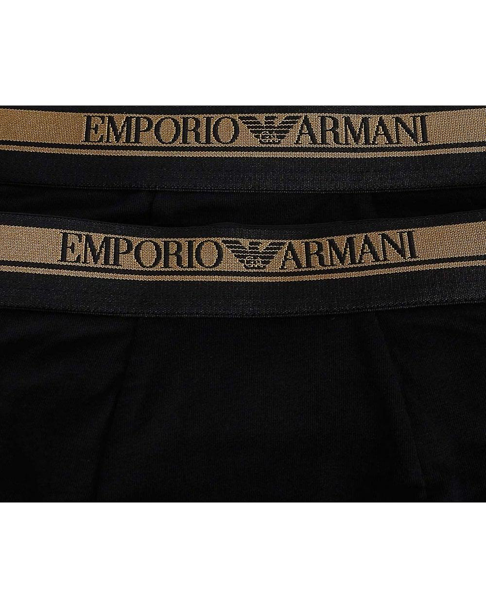 Emporio Armani 2 Pack Gold Waist Band Trunks
