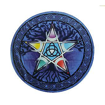 Niebieski bawełny kolorowe Pentagram drzewo życia okrągłe gobelin