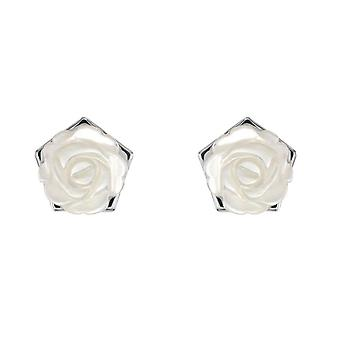 Dew Silver Mother Of Pearl White Carnation Stud Earrings 30801MP028