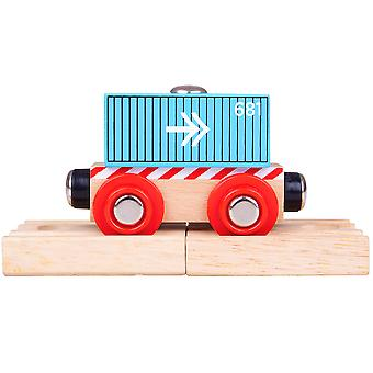 Bigjigs Rail Wooden Container Wagon (Blue) - Train Carriage Locomotive Track