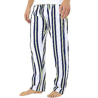 Brave Soul Mens Retro Full length Striped Pyjama Bottoms Trousers - Branco / Marinha