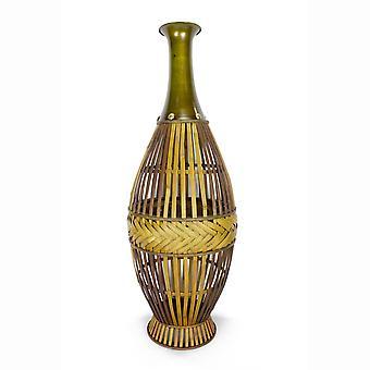 """11.5"""" X 11.5"""" X 33.25"""" Gris con jarrón de metal de bambú de madera desgastada con una banda de decoaritve"""