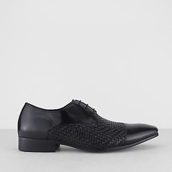 Blakeseys Erpingham Mens Leather Woven Lace Up Derby Shoes Black