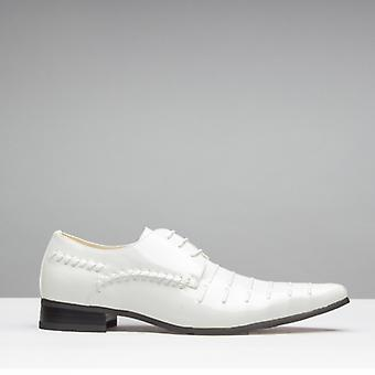 Mister Carlo Paris Mens Faux Patent Leather Derby Lace Up Shoes White