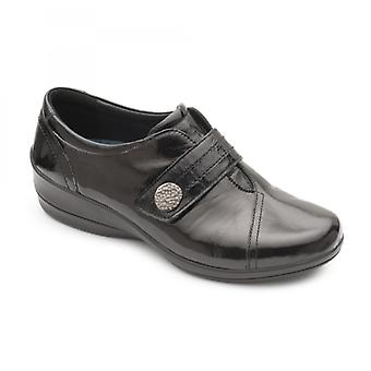 Padders Simone 3 Ladies Leather Wide (e/2e) Shoes Patent Black