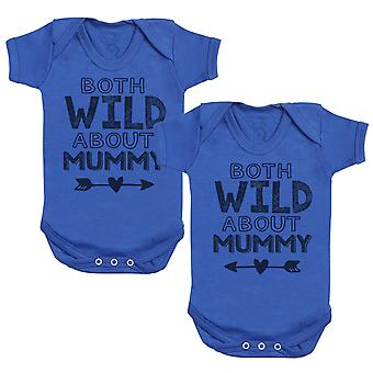 Both Wild About Mummy Baby Bodysuit - Baby Gift Twin Set