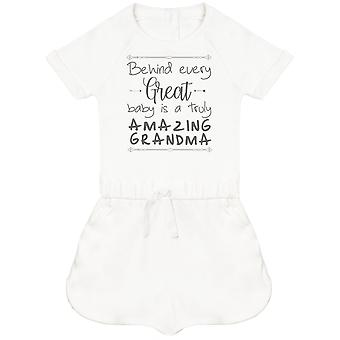 Behind Every Great Baby Is A Truly Amazing Grandma Baby Playsuit