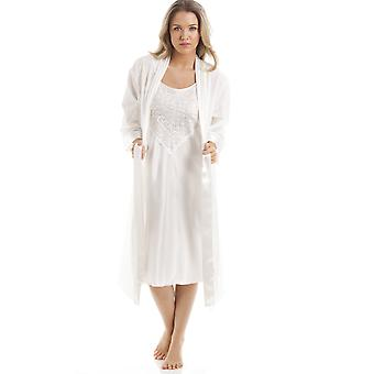 Camille Ivory Medium Cotton Wrap With Satin Chemise Set
