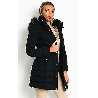 IKRUSH Womens Nadia Padded Hooded Longline Puffer Jacket