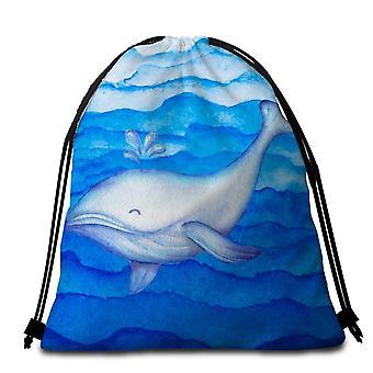Blauwe schattige walvis strandlaken