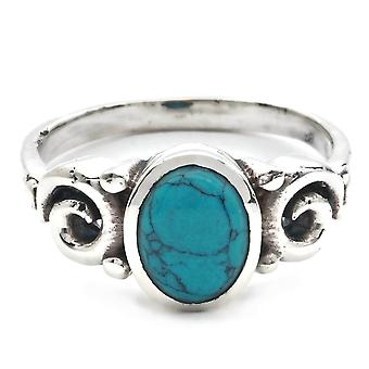 Turquoise Ring 925 Silver Sterling Silver Silver Women's Ring Blue Green (IRM 158-15)
