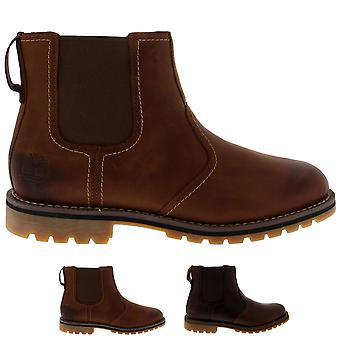 Mens Timberland Saffron Walden Chelsea vinter skinn gå ankelen støvler