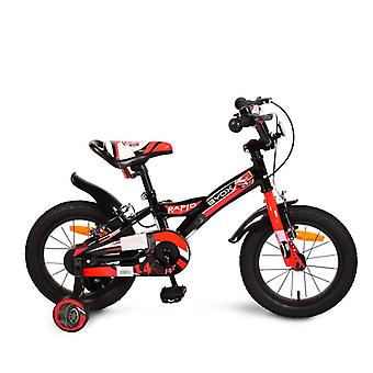 Byox Children's Bicycle 14 pouces Rapid Black, Support Wheels, Bell Saddle Adjustable