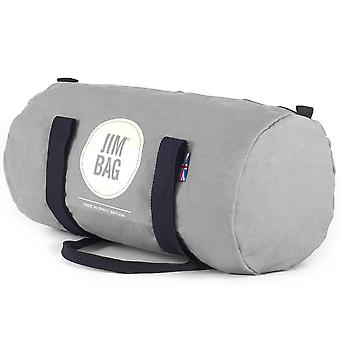 JIMBAG Grey Barrel Sports Fitness Gym Overnight Travel Bag
