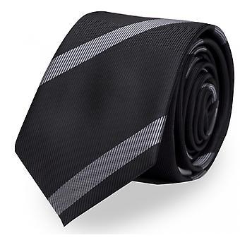Slips, tie, ties, binder, 8cm, black grey striped, Fabio Farini
