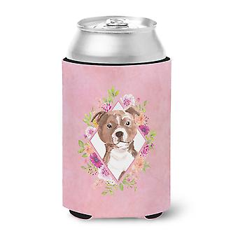 Staffie Bull Terrier Pink Flowers Can or Bottle Hugger