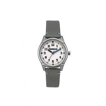 Freegun Watch EE5261 - Steel Leather Bracelet Grey Cadran White Junior