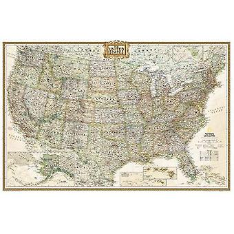 United States Executive Poster Size Tubed by National Geographic Maps
