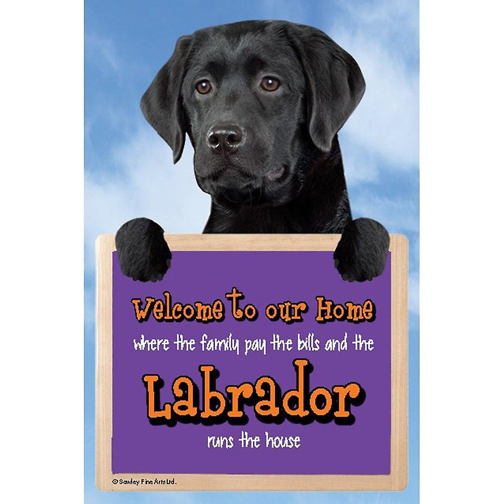 Faithful Friends Collectables Welcome 3d Hang-up Labrador (black)