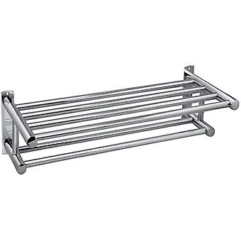 Stainless Steel Plated Wall Mounted Bathroom Towel Double Shelf Storage Rail Holder Rack