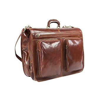 Genuine Italian Leather Suiter Garment Bag Cabin Suit Carrier Hand Luggage Brown