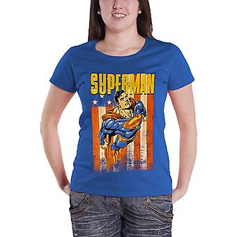 Official Womens Superman T Shirt Vintage Flying Blue DC Comics Skinny Fit