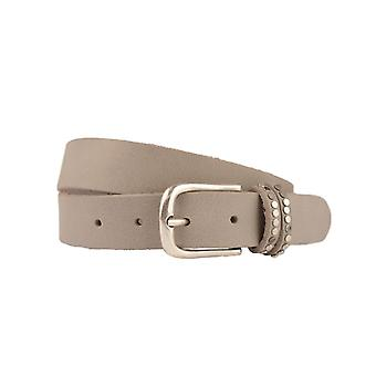 Hip Grey/Taupe Leather Women's Belt With Studs On Double Loop