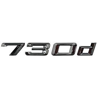 Silver Chrome BMW 730d Car Model Rear Boot Number Letter Sticker Decal Badge Emblem For 7 Series E38 E65 E66E67 E68 F01 F02 F03 F04 G11 G12