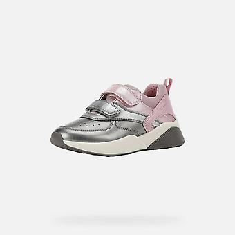 Geox j sinead silver and pink trainers