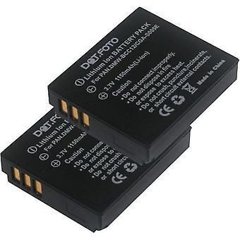 2 x Dot.Foto Panasonic CGA-S005, CGA-S005A/1 b, CGA-S005E/1 b, DMW-BCC12 batterie de rechange - 3.7V / 1150mAh