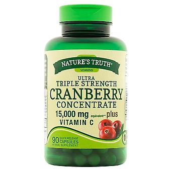 Nature's truth ultra triple strength cranberry concentrate, 15000 mg, plus vitamin c, capsules, 90 ea