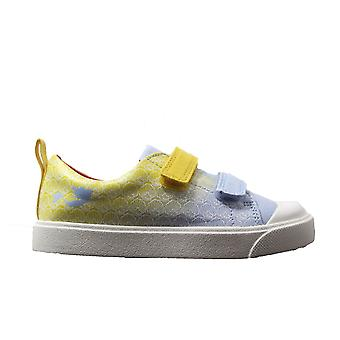 Clarks City Shell Toddler Yellow Interest Canvas Girls Rip Tape Casual Shoes