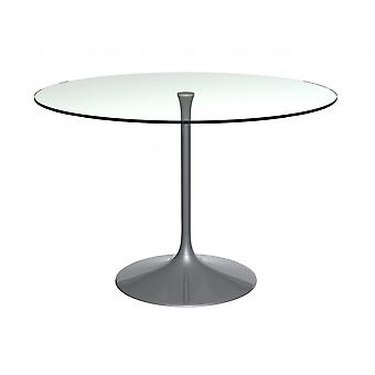 Gillmore Pedestal Large Dining Table Clear Glass And Smoked Chrome