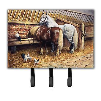 Horses Eating with the Chickens Leash or Key Holder