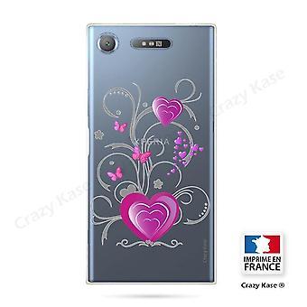 Rumpf für Sony Xperia Xz1 Flexible Herzmuster und Schmetterling