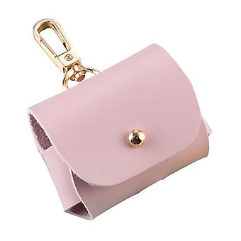 For Apple AirPods Pro Case, Protective PU Leather Cover with Hook, Pink