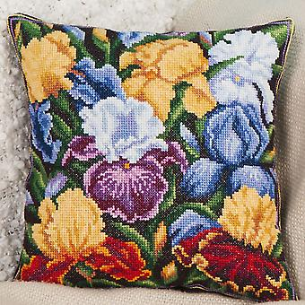 Panna Cross Stitch Cushion Front Kit : Irises