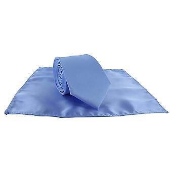 Michelsons Londyn Silm satyna poliestrowa placu kieszeni i komplet krawat - Ice Blue