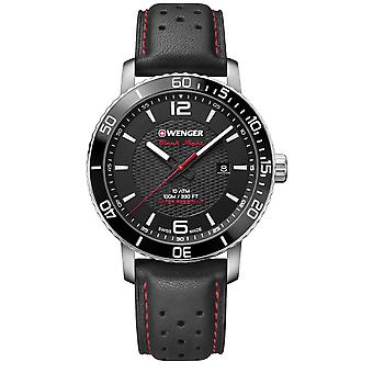 Wenger Roadster Black Dial Black Leather Strap Men's Watch 01.1841.101 RRP £155