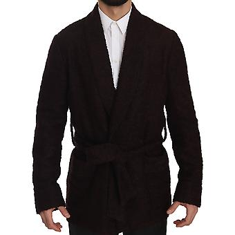 Dolce & Gabbana Bordeaux Robe Coat Mens Wrap  Jacket JKT2390