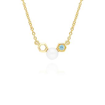 Modern Pearl & Blue Topaz Necklace in 9ct Yellow Gold 135N0362019