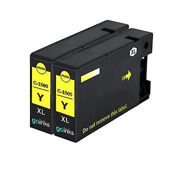 2 Cartucce inchiostro giallo per sostituire Canon PGI-1500XLY Compatibile/non OEM da Go Inks