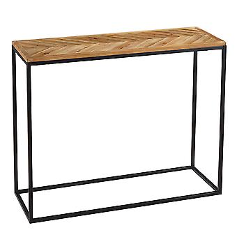 Charles Bentley Industrial Chevron Console Contemporary Wood Metal Table H81.5xL35xW100cm