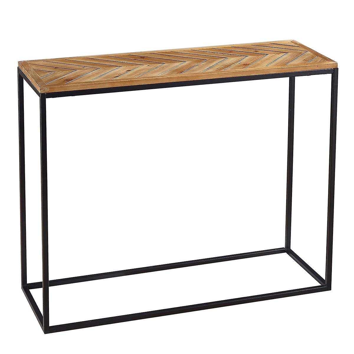 Charles Bentley Industrial Chevron Console Contemporary Wood Metal Table H81.5 x L35 x W100cm