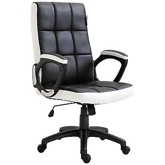 Vinsetto Office Gaming Study Chair High Back PU Leather Padded Sleek Adjustable Height Swivel Base Black Armrest