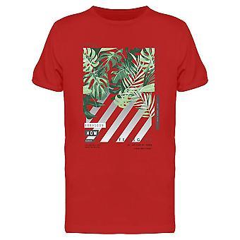 Hojas de palma tropical en rayas camiseta hombres's -Imagen por Shutterstock