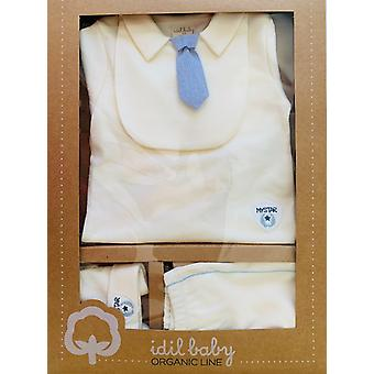 Idilbaby   Gots Organic  Boy  Baby   My Star   Cream   Trouser   Top with Bib   Hat   Set of 4    in Gift Box