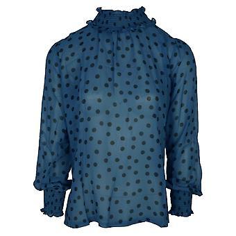 Haut léger Primrose Park Blue & Black Polka Dot avec col et poignets élastiques